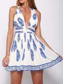 White Chikan Deep V Neck Open Back Flower Feather Print Dress