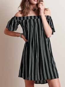 Black Boat Neck Vertical Striped Dress