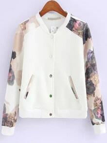 White Florals Edge Pockets Jacket