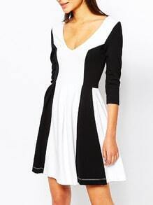 Beige Black Long Sleeve Color Block Dress