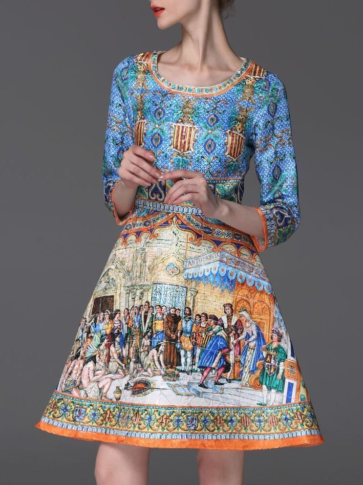 Multicolor Round Neck Length Sleeve Vintage Print Dress