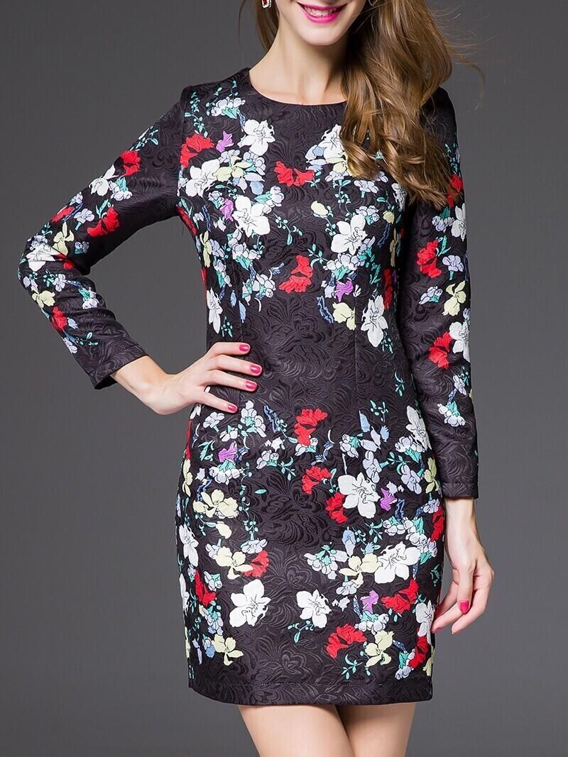 Black Round Neck Long Sleeve Print Jacquard Dress