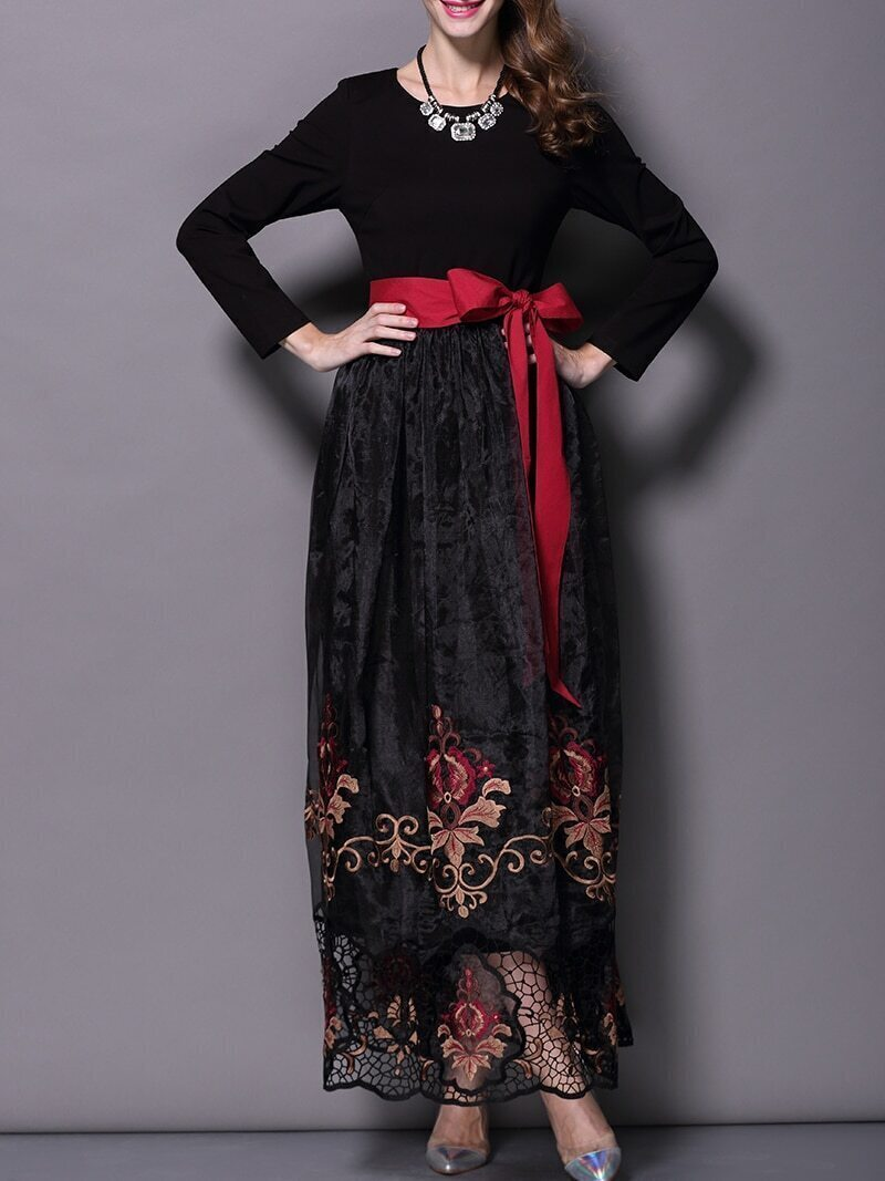 Black Long Sleeve Contrast Gauze Embroidered Tie-Waist Dress
