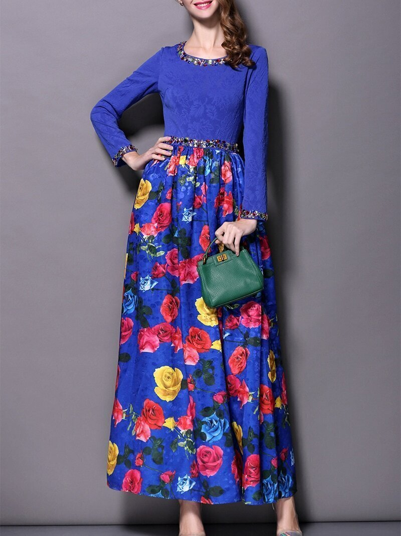 Blue Round Neck Long Sleeve Beading Print Dress