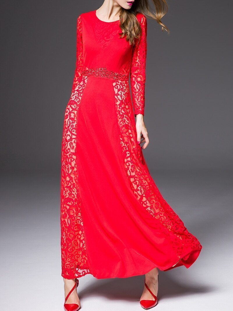 Red Round Neck Long Sleeve Contrast Lace Beading Dress
