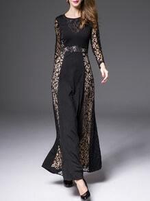 Black Round Neck Long Sleeve Contrast Lace Beading Dress