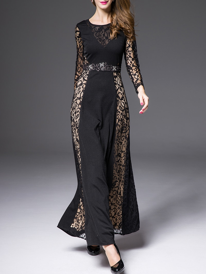 Black Round Neck Long Sleeve Contrast Lace Beading Dress