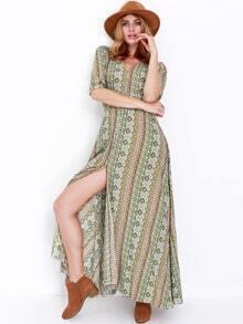 Multicolor Half Sleeve Vintage Print Split Maxi Dress