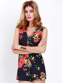 Black Sleeveless Foral Playsuit