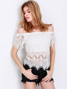 White Short Sleeve Off The Shoulder Lace Blouse