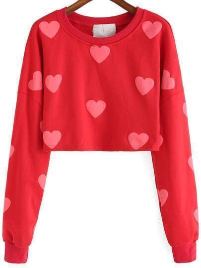 Red Round Neck Hearts Print Crop Sweatshirt