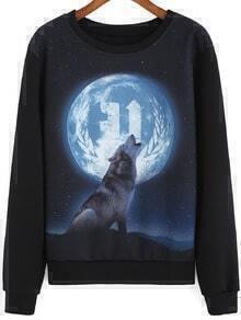 Black Round Neck Wolf Moon Print Sweatshirt