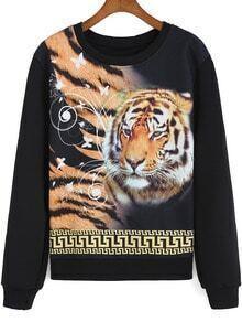 Yellow Black Round Neck Tiger Print Sweatshirt