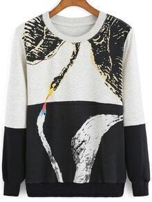 Black Grey Round Neck Swan Print Loose Sweatshirt
