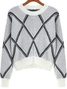 Grey Round Neck Geometric Print Crop Sweater
