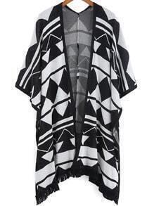Black White Geometric Print Loose Cardigan