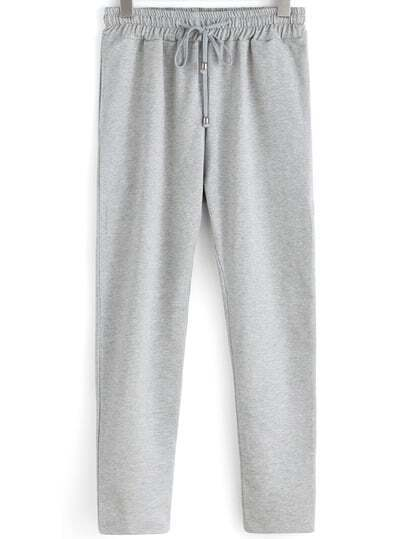 Grey Drawstring Waist Loose Pant