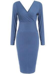 Blue V Neck Slim Knit Casual Dress