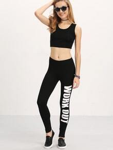 Slogan Print Capri Leggings