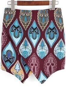 Multicolor Tribal Print Asymmetrical Skirt