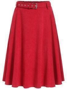 Red Pleated Midi Skirt