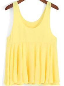 Yellow Scoop Neck Pleated Chiffon Tank Top
