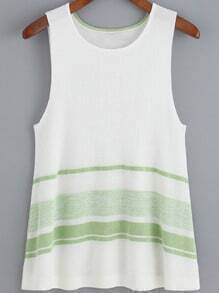 Green White Striped Knit Tank Top