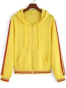 Yellow Hooded Zipper Pockets Striped Coat