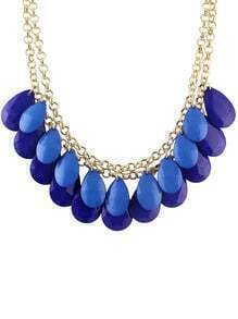 Blue Hanging Large Beads Bubble Bib Necklace