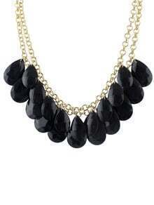 Black Hanging Large Beads Bubble Bib Necklace