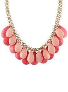 Pink Hanging Large Beads Bubble Bib Necklace