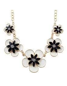 New Trendy Enamel Flower Women Black Statement Necklace