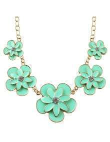 New Trendy Enamel Flower Women Green Statement Necklace