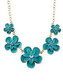 New Trendy Enamel Flower Women Lakeblue Statement Necklace