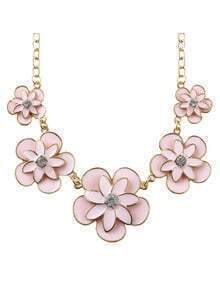 New Trendy Enamel Flower Women Pink Statement Necklace