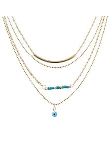 Simple Gold Plated Multilayers Chain Necklace