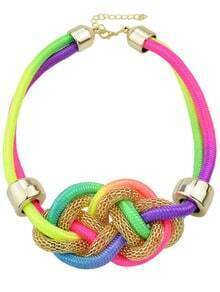 Colorful Braided Rope Women Statement Collar Necklace