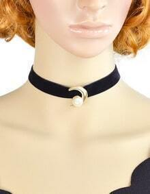 Punk Gothic Style Black Velvet With Fake Pearl Choker Necklace