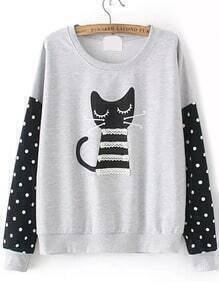 Cat Print Contrast Lace Dotted Grey Sweatshirt