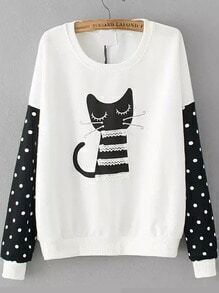 Cat Print Contrast Lace Dotted White Sweatshirt