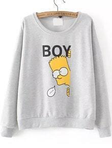 Round Neck Sipson Print Grey Sweatshirt