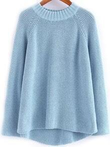 Dip Hem Knit Blue Sweater