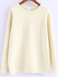 Zigzag Knit Beige Sweater