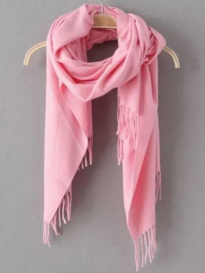 Pink Fashion Tassel Scarve