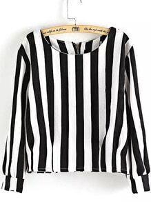 Black White Round Neck Vertical Stripe Crop Top