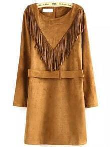 Khaki Fringe Bronze Round Neck Tassel Belt Dress