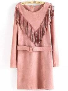Pink Fringe Round Neck Tassel Belt Dress