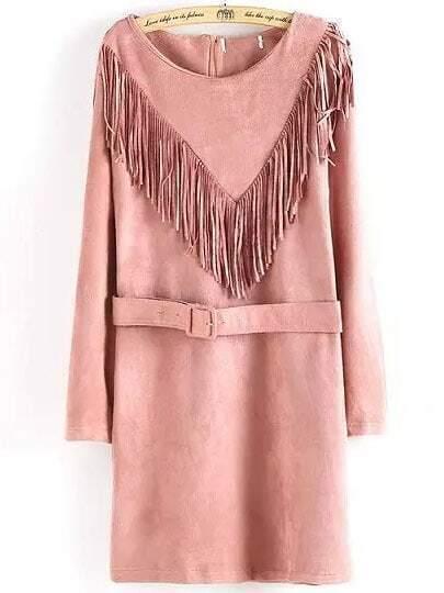 Pink Fringe Round Neck Tassel Belt Dress