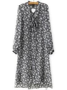 Black White Tie-neck Floral Dress