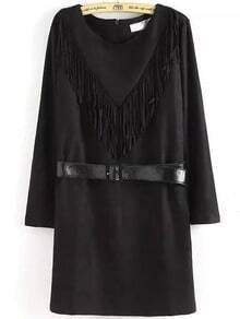 Black Round Neck Tassel Belt Dress